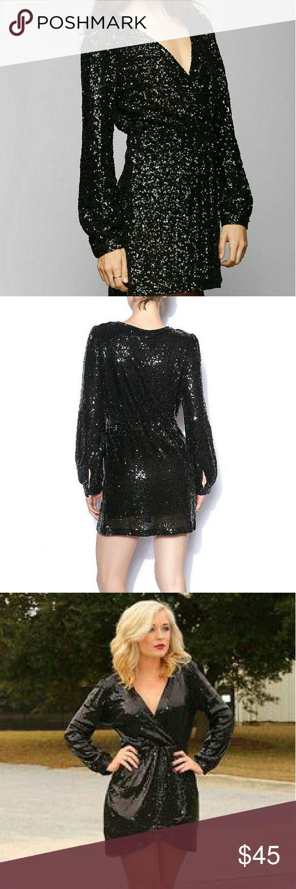 Shop hopes Black sequin long sleeve dress Brand new with tags black long sleeve dress, faux wrap, v neck. Dresses Long Sleeve