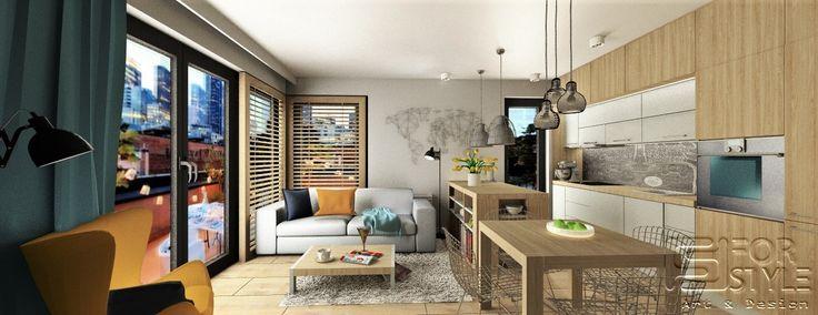 nowoczesny salon, salon z aneksem kuchennym, shutters, okiennice, mapa, mapa na ścianie, wyspa w kuchni, wyspa w salonie, wysoka zabudowa w kuchni, kuchnia w kolorze drewna, wypoczynek, oświetlenie, oświetlenie nad wyspą, wiszące oświetlenie, duże okna w salonie, ciemne okna, jasne drewno