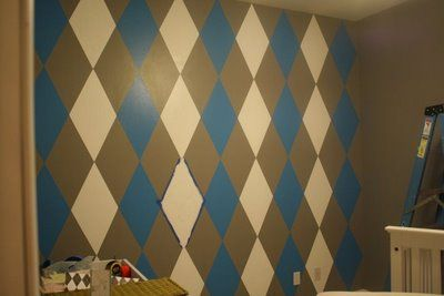 I'm thinking argyle painting in my son's bedroom... but with brighter colors than this... and bigger diamonds.