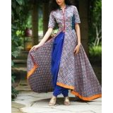 Multicolored Cotton Printed Front Open Anarkali Kurti