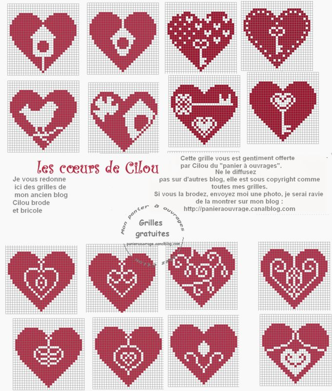 Cross-stitch hearts - coeurs de cilou 3
