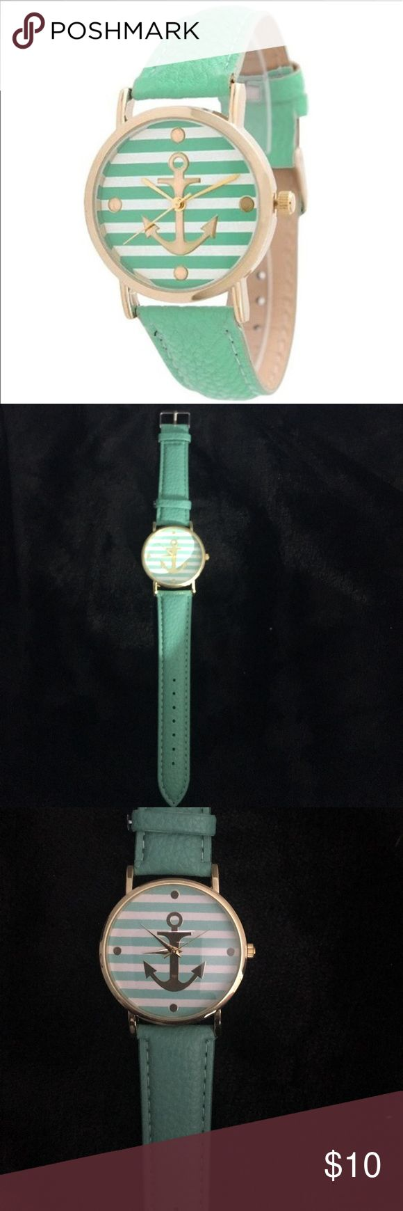 Light Aqua Anchor Nautical Striped Watch New Beautiful anchor watch Accessories Watches