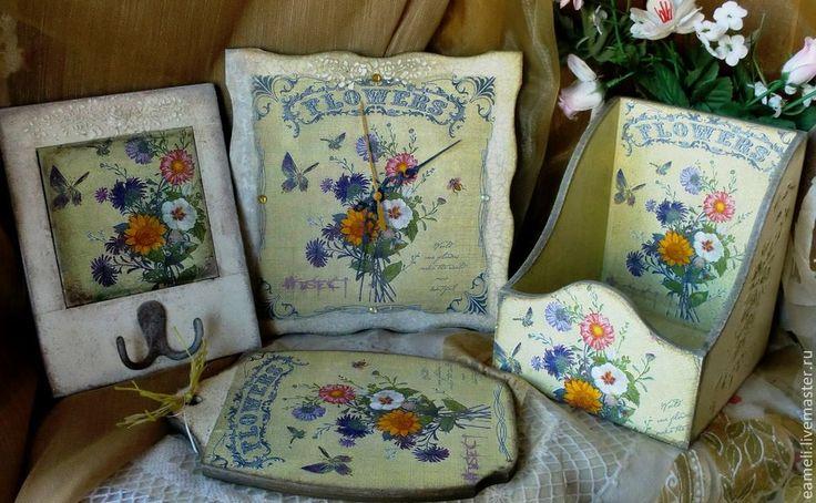 "Купить ""Летний букет""-Комплект для дома - оливковый, рамки для фото, романтика, романтический стиль"