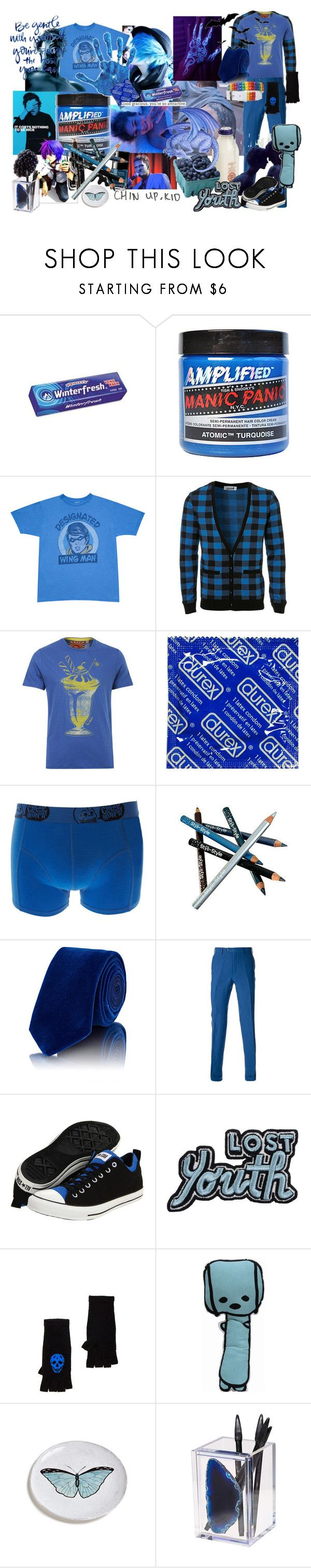 """Blue Boy"" by verysmallgoddess ❤ liked on Polyvore featuring Wrigley's, Manic Panic NYC, Junk Food Clothing, Topman, Ted Baker, Cheap Monday, Chanel, Styli-Style, Penrose London and Brioni"