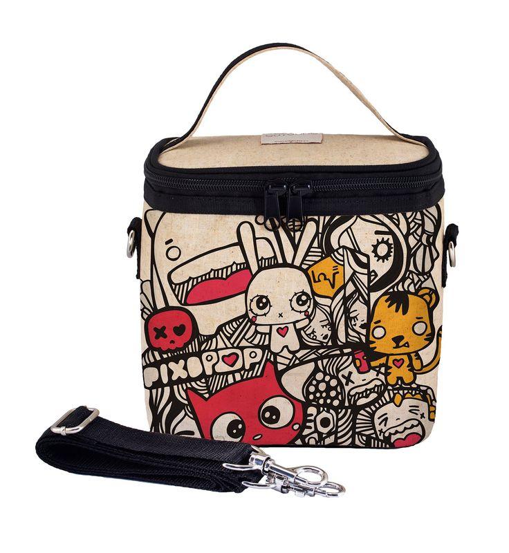RAW LINEN- Pixopop Pishi and Friends Small Cooler Bag