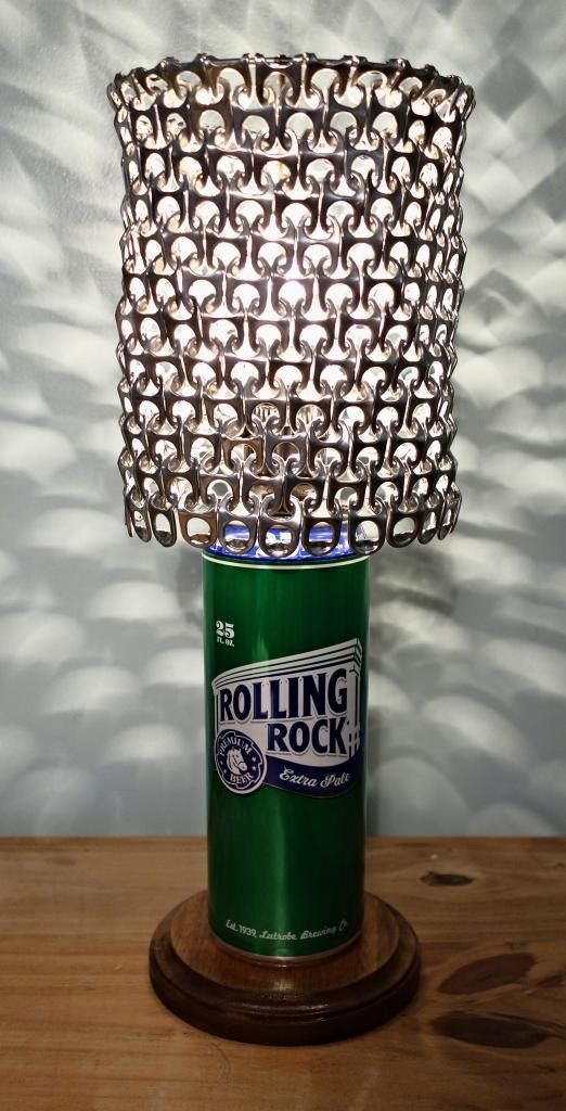 Giant Rolling Rock Beer Can Lamp With Pull Tab by LicenseToCraft on Etsy