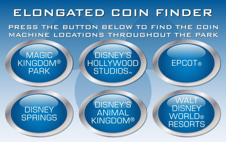 Press a button to find maps of Disney World pressed penny locations and designs