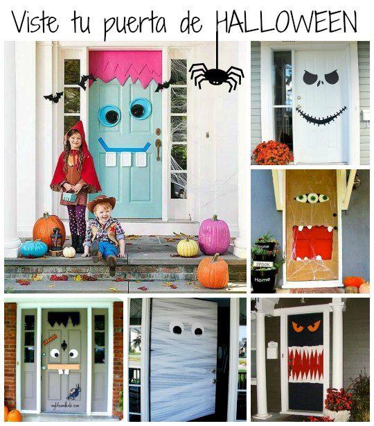 17 mejores ideas sobre decoraciones de puertas de - Decoracion de halloween para casas ...