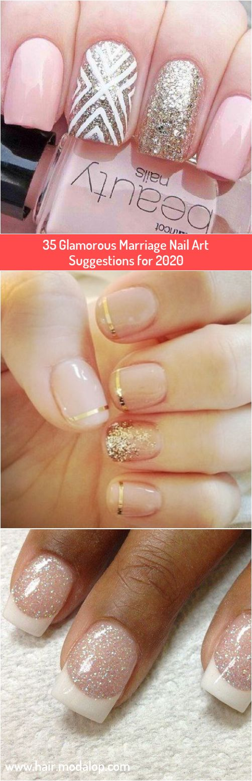 35 Glamorous Marriage Nail Art Suggestions for 2020 in ...