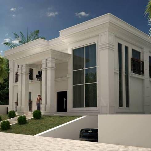 CASA NEOCLASSICA MODERNA: Casas clássicas por TRAÇO FINAL ARQUITETURA E INTERIORES