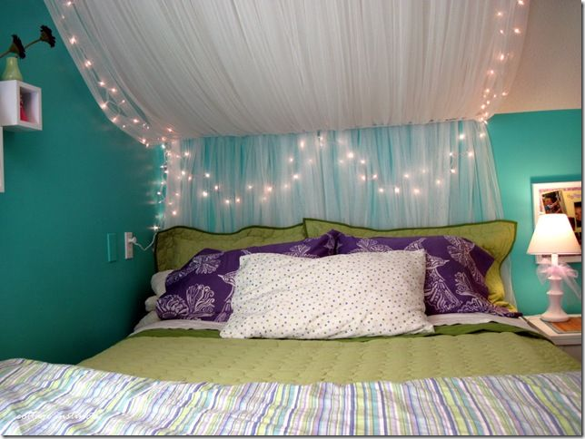The bed canopy made from ikea netted sheers and some white for Ikea twinkle lights