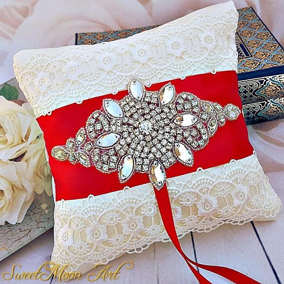 Red wedding pillow Lace ring pillow Red Ring Bearer Pillow