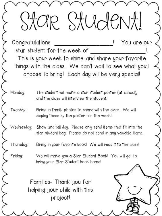 Image result for student of the week letter to parents More