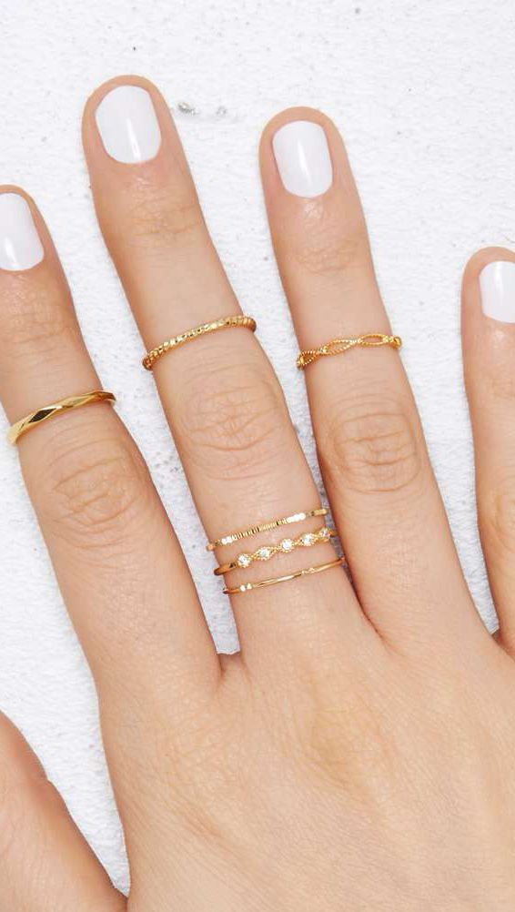Delicate rings. Not a fan of the midi rings, but the lower ones, are so pretty and delicate; I like them layered.