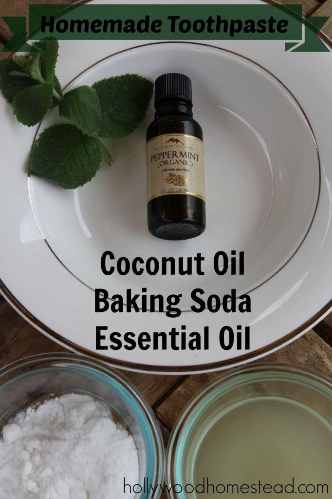 Homemade Toothpaste - Ingredients:      3 Tbsp of coconut oil      3 Tbsp of baking soda      8-15drops of essential oil (optional, e.g. peppermint or spearmint)
