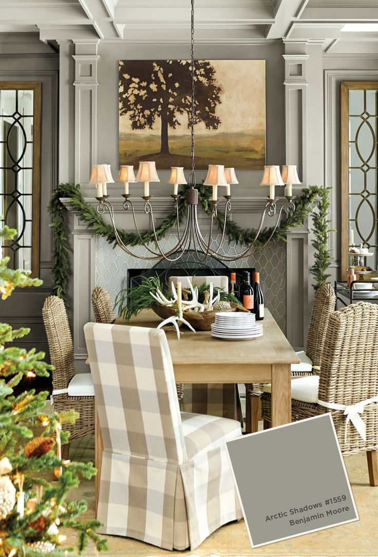 Gray paint color in ballard designs catalog dining room for Ballard designs dining room
