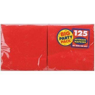 """Big Party Pack Beverage Napkins 5""""X5"""" 125/Pkg-Apple Red"""