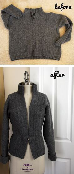 Before Husband's Sweater... After Wife's Sweater.Tutorial. -I had a man's sweater that was huge. I used it to make a similar sweater. The button I used is blingy and closure for the button is different. I love how it turned out and I feel like I'm going to use it a lot this winter!