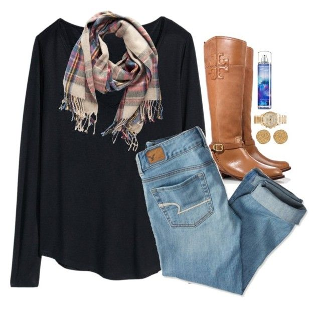 """""""go follow @pumpkinsandprep RIGHT NOW"""" by emmig02 ❤ liked on Polyvore featuring Tory Burch, H&M, American Eagle Outfitters, Pieces, Karen Kane and Michael Kors"""