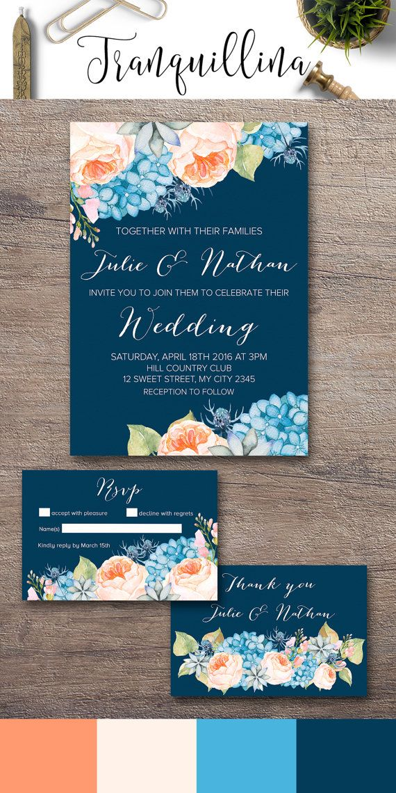 Floral Boho Wedding Invitation Printable, Peach & Navy Wedding Ideas. Hydrangea and Peonies Wedding Invite. You can choose invitation only or combine it with matching rsvp and thank you card. For more info, follow this link: tranquillina.etsy.com