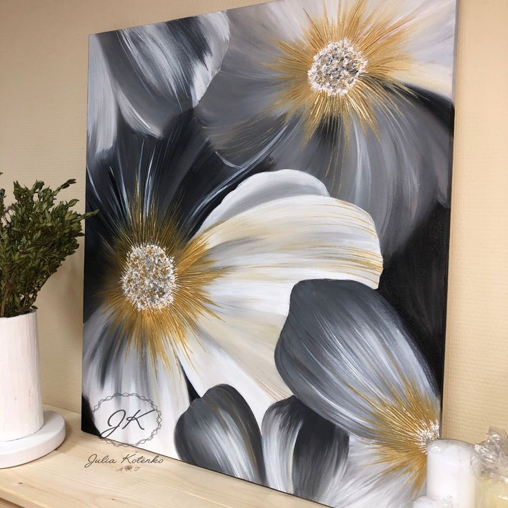 Flower Painting, Wall Art Large Abstract Painting Gray Painting Gold Abstract Painting Abstract Original Painting On Canvas by Julia Kotenko