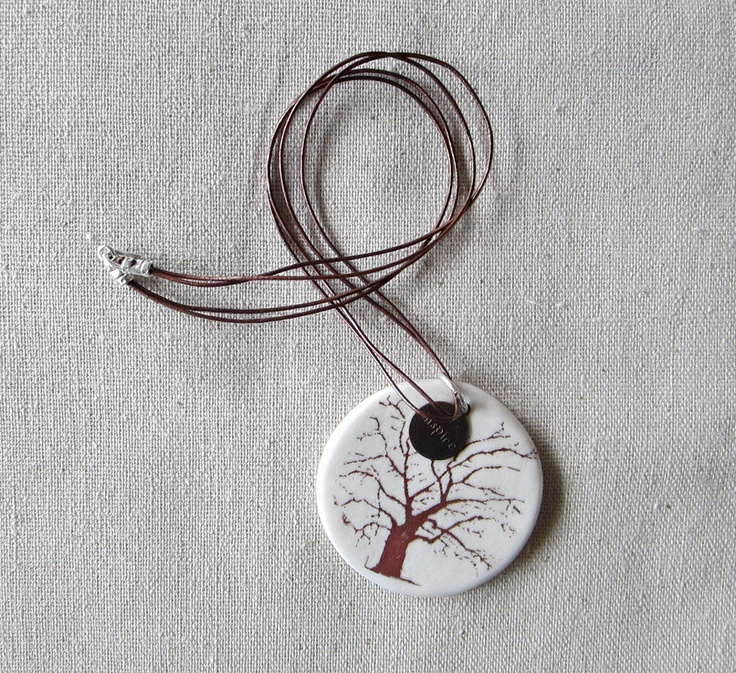 Old Oak Tree Ceramic Pendant Necklace Leather by redtilestudio, $40.00