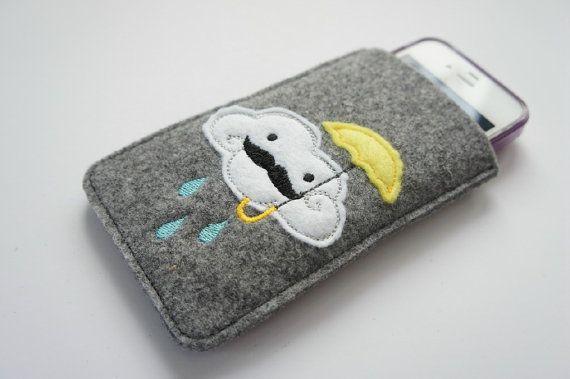 i like it!   grey wool felt mobile case