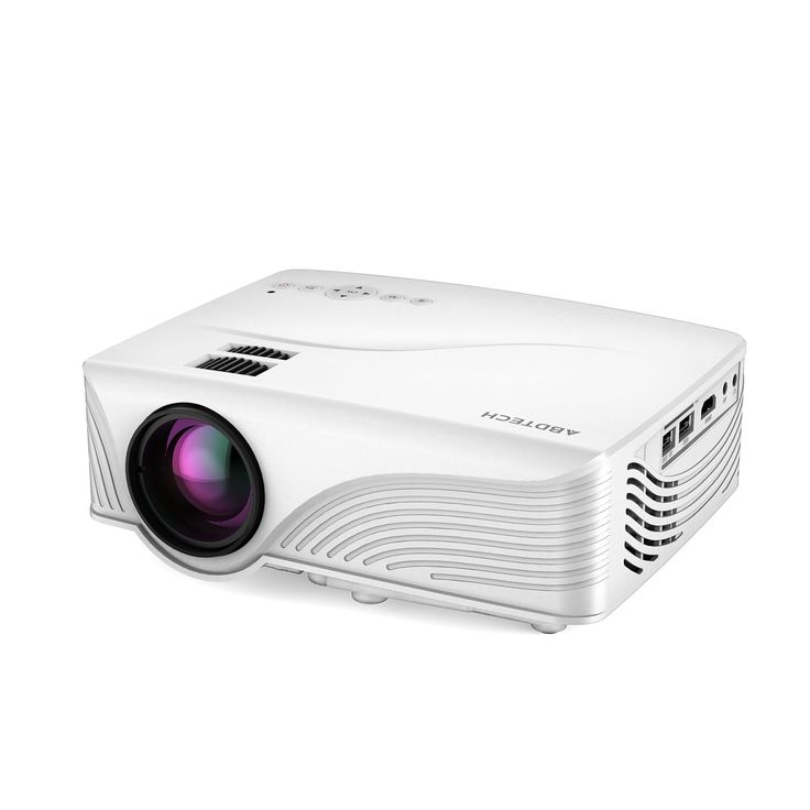"""Abdtech 1200 Lumens Mini LED Multimedia Home Theater Projector - Max 120"""" Screen Optical Keystone USB/AV/SD/HDMI/VGA Interface ¨C Ideal for Video Games, Movie Night, Family Videos and Pictures(White)"""