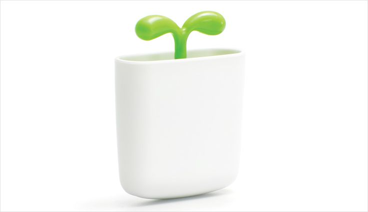 Japanese company Mikuni collaborated with Oki Sato of Nendo to devise Airleaf Mini, an air purifier that looks like a tiny potted bean sprout | azuremagazine.com