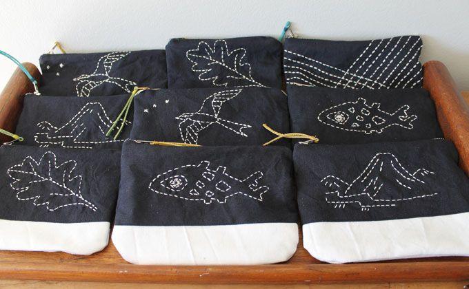 sashiko stitching zipper pouches