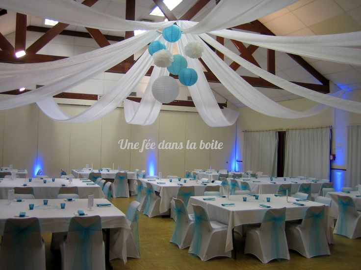 mariage turquoise et blanc une salle banale transform e par la d coration deco pinterest. Black Bedroom Furniture Sets. Home Design Ideas