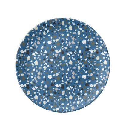 Terrazzo Blue Black Khaki White Dinner Plate - marble gifts style stylish nature unique personalize