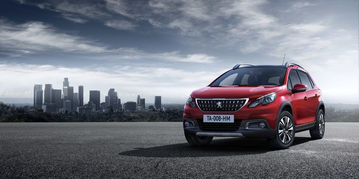 The New Peugeot 2008's striking new vertical front grille, adorned with the Peugeot lion, and horizontal bonnet are complemented with a rear sports spoiler; wheel arch extensions; front & rear scuff plates and roof bars.