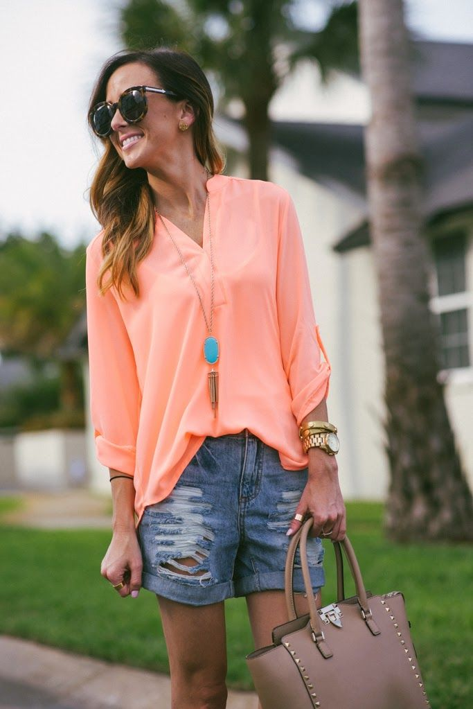 NEON TOP DISTRESSED SHORTS