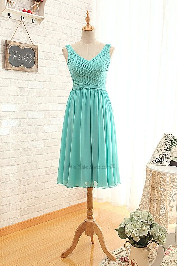 Short V Neckline Tiffany Blue Bridesmaid Dress