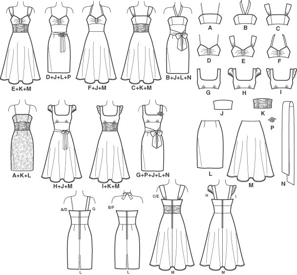 Pattern for a very versatile women's dress. Nine different