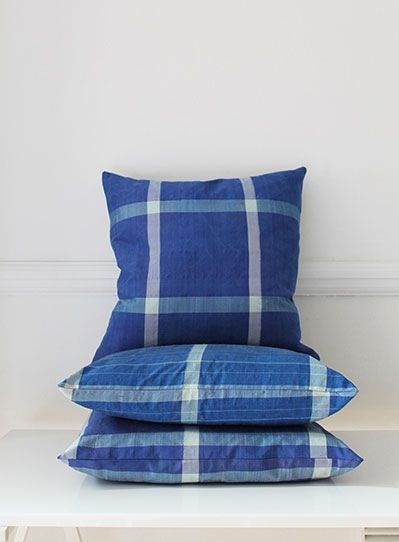 Image of Vintage Blue Silk Square Cushion