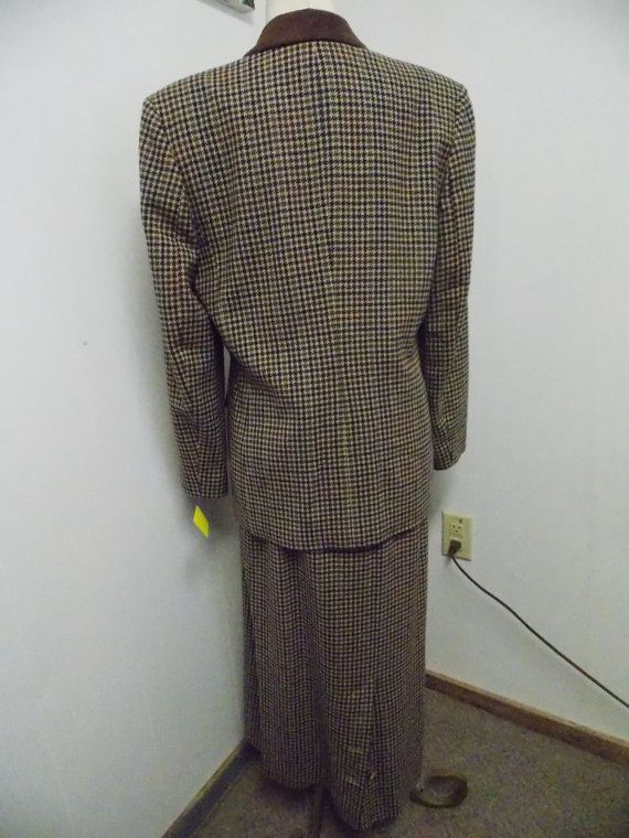 Vintage Pendleton Wool Houndstooth Suit Jacket and Skirt Size