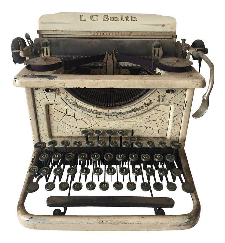 Smith & Corona Shabby Chic Ivory Typewriter on Chairish.com
