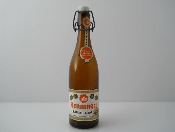 Henninger Export Bier Porcelain Bail Top Amber Bottle c by Replays, $19.00