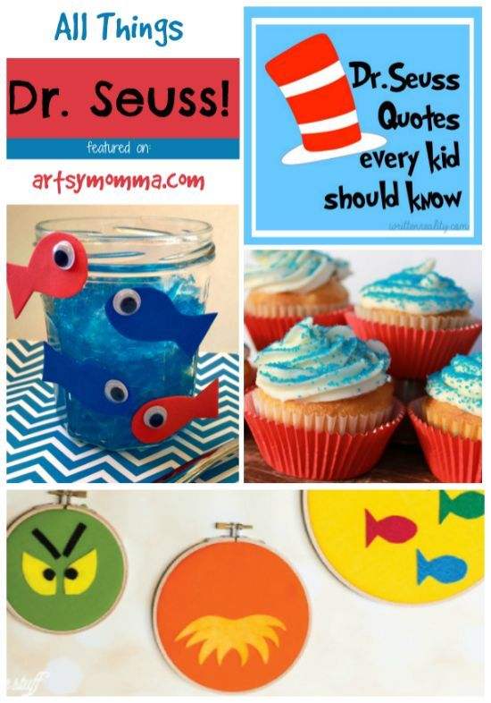Dr Seuss Quotes, Crafts, and Snack Ideas #drsuess #kidsbooks #bookspiration #readeveryday #readacrossamerica #artsymommadotcom #kidscrafts
