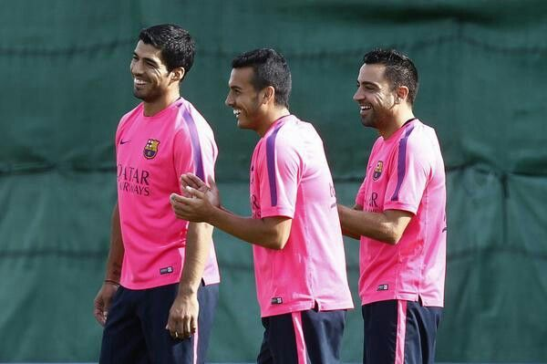 Welcome luis suarez to barcelona, first training with fc barcelona, good luck!!!