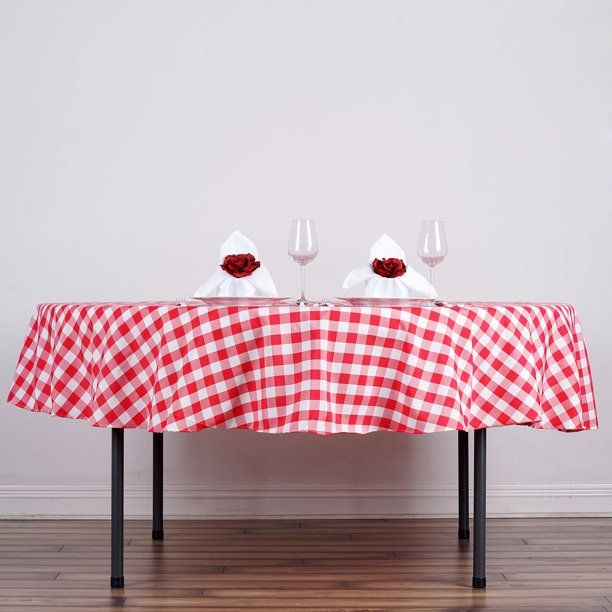 Balsacircle 90 Round Gingham Checkered Polyester Tablecloth For Garden Party Wedding Reception Catering Dining Table Linens Walmart Com Table Cloth Round Tablecloth Table Linens