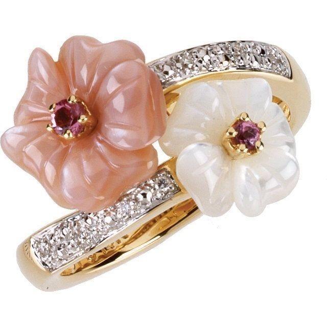 Genuine Pink Tourmaline Mother of Pearl & Diamonds Flower Ring 14K. Yellow Gold  #Stock15283Y #Flower #Birthday