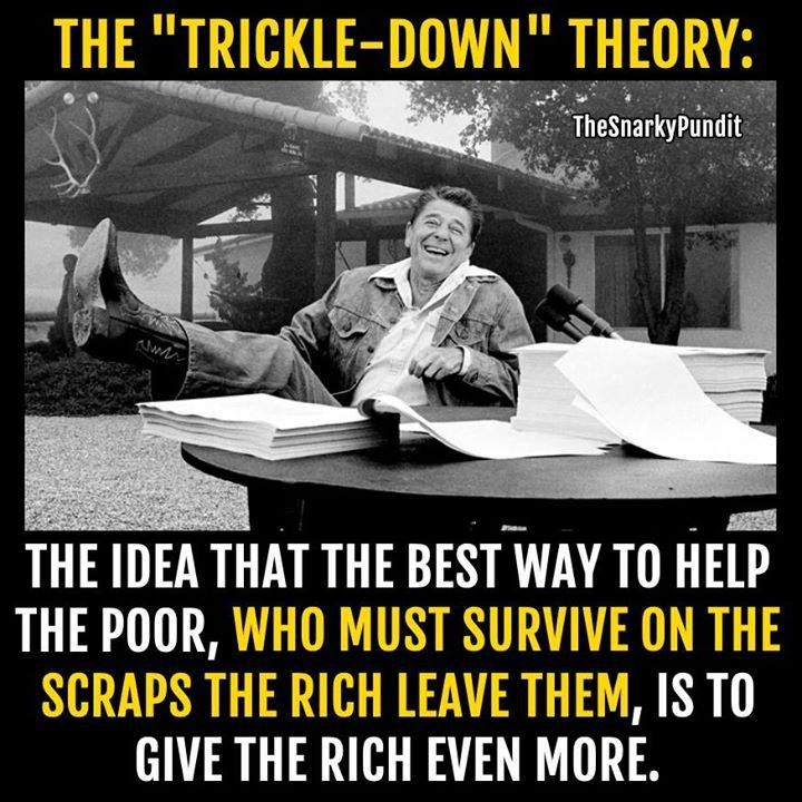 Reagan endorsed trickle down and dismantled the fairness doctrine.