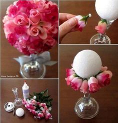 Rose topiary made from roses & styrofoam ball craft