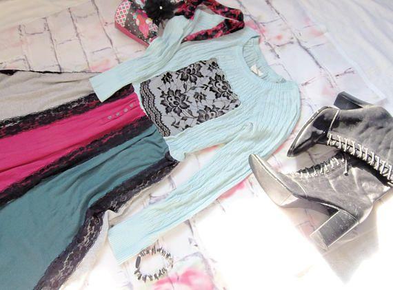 Womens Sweater Dress, Asymmetrical, Black Lace, Jersey Knit Skirt, Tea Length, Midi, Casual Ladies Dress, Fall Fashion, Boho Dress, Size Med