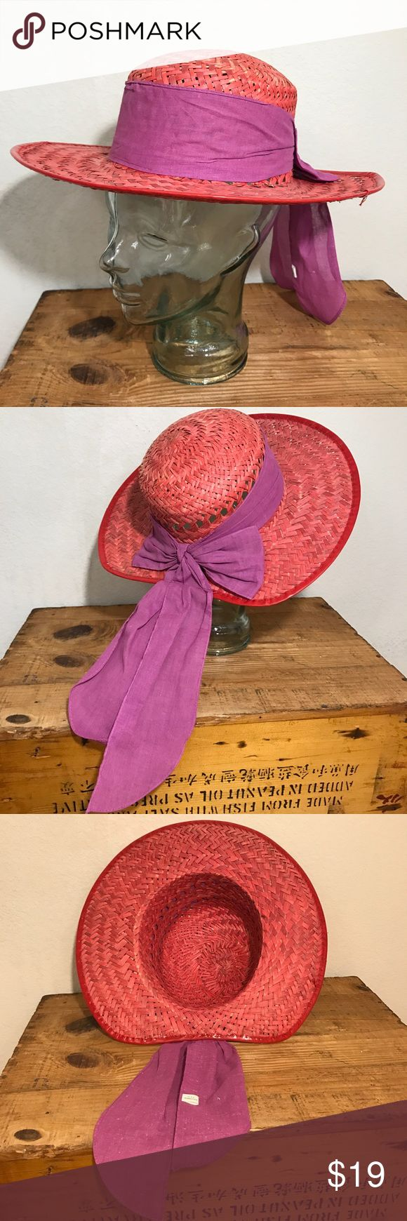 """Red Hat Society Hat With Purple Scarf Straw Hat Women's Red Hat With Purple Scarf Straw Hat Cotton Scarf Inside circumference approx 21"""" Red Hat Society Please see photos as we do consider them to be a part of the description. Accessories Hats"""