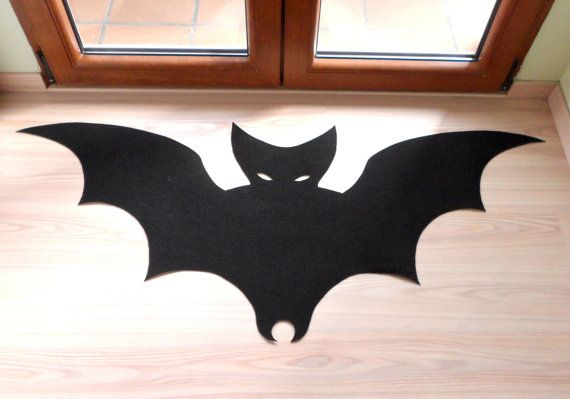 Bat rug. Halloween rug. Custom doormat bat silhouette