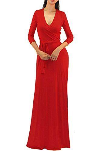 8a057eebad Vivicastle Women s Solid V-Neck 3 4 Sleeve Faux Wrap Waist Long Maxi Dress  (Medium